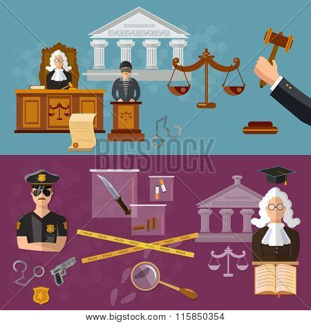 System Of Justice Banner Courtroom The Defendant And The Judge Law