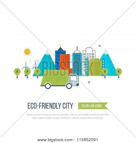 Green eco and eco-friendly city concept.