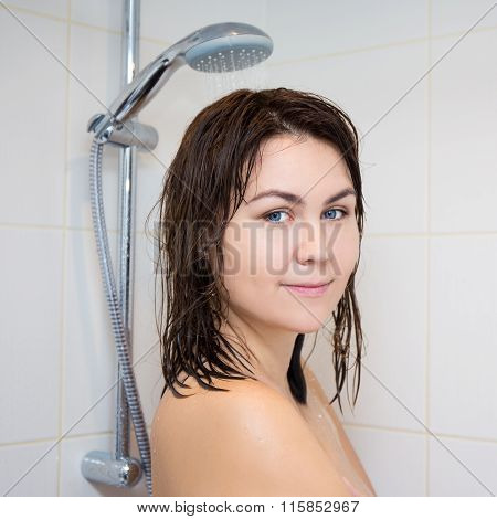 Young Woman Washing Head In Shower