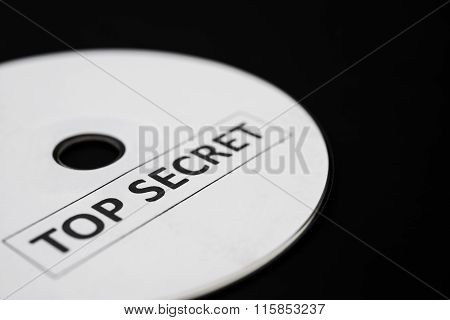 Compact Disc With Label Of Top Secret