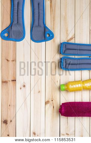 Sport Equipment. Ankle And Wrist Weights, Juice, Towel.