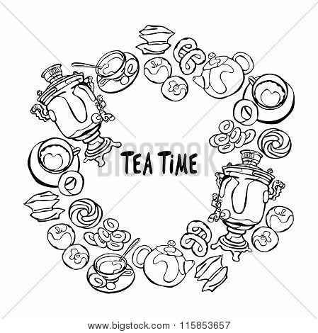 Samovar and tea cup. Tea time. Baking: bagel and bun. Candy and apples. Teapot. Frame - wreath.