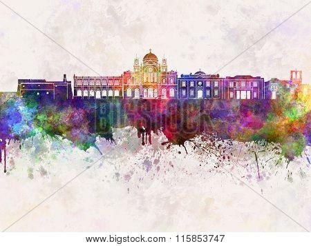 Heraklion Skyline In Watercolor Background