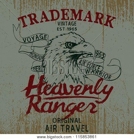 Vintage label with eagle