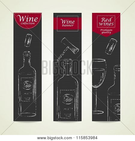 Vector Vertical Banners With Chalk Drawn Wine Bottles And Wine Glass