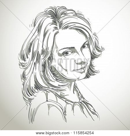 Vector Portrait Of Attractive Woman, Illustration Of Good-looking Romantic Female. Person Emotional