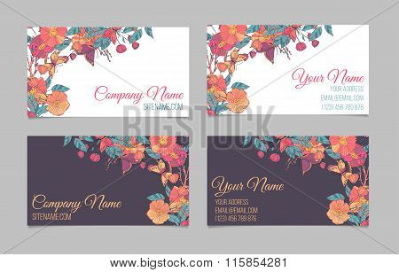 Set of two double-sided floral business cards