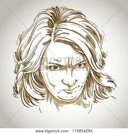 Vector Portrait Of Angry Woman With Wrinkles On Her Forehead, Illustration Of Good-looking But Irate