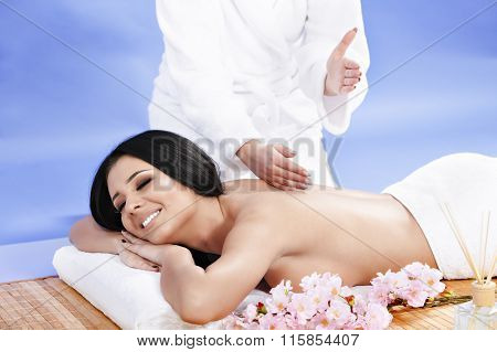 Beautiful  woman getting spa treatment at salon