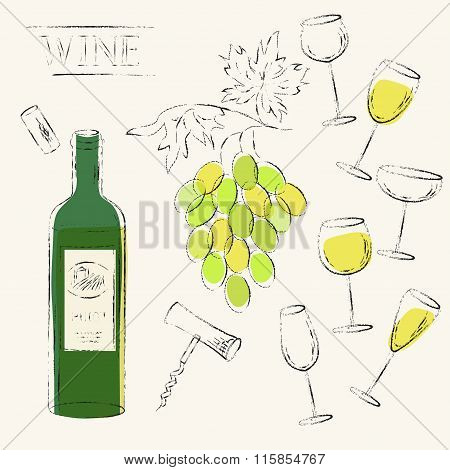 White Wine Bottle, Wine Grapes, Cork, Corkscrew And Wine Glasses Setvector Sketch