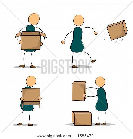 Set Of Funny Cartoon Office Worker With Boxes
