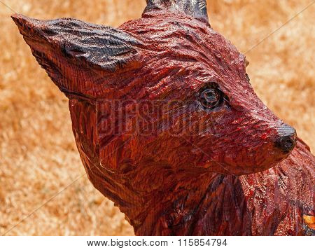 Carved And Burned Wood Chainsaw Sculpture Of A Coyote Head
