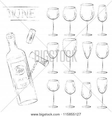 Wine Glasses, Cork, Corkscrew And Open Bottle Sketch Set.