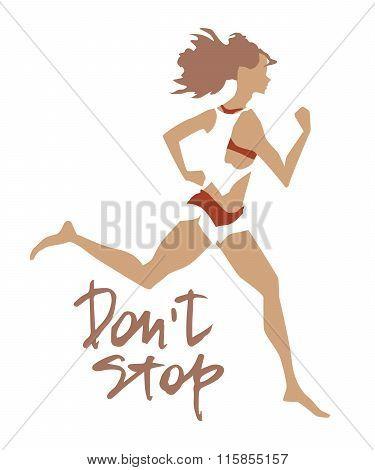 Sportswoman. Vector element for sport motivation.