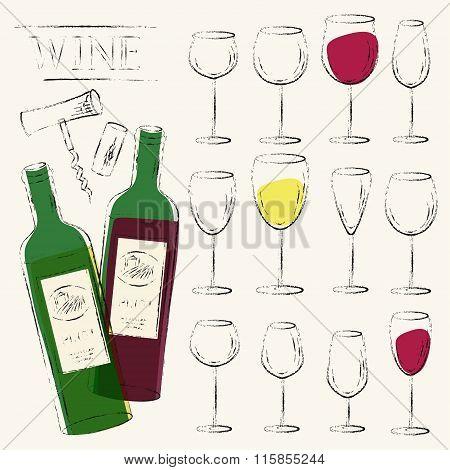 Wine Bottles, Wine Glasses, Cork And Corkscrew Sketch Illustration