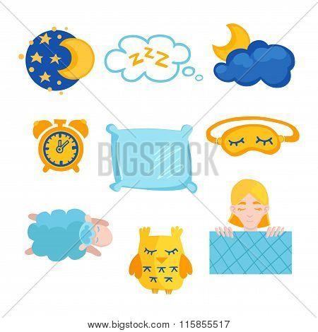Sleep time flet icons set isolated vector