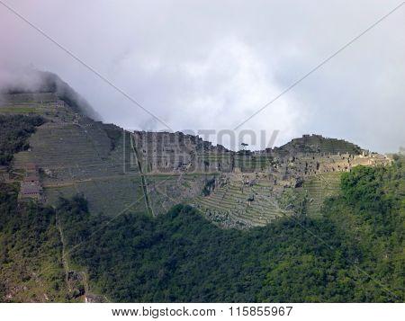 Machu Picchu Seen From Oposite Mountain Putucusi