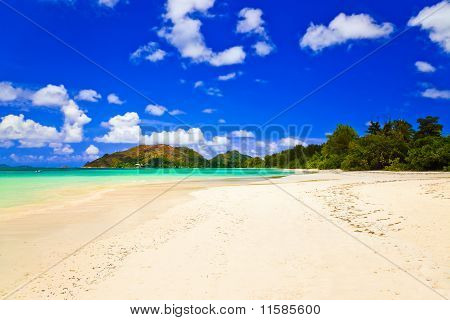 Tropical Beach Cote D'or At Island Praslin, Seychelles