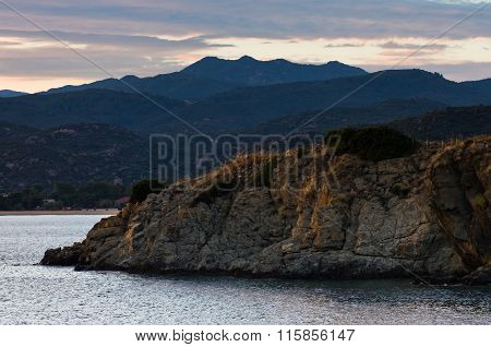 Sea coast and mountains after sunset, west coast of Sithonia, Greece