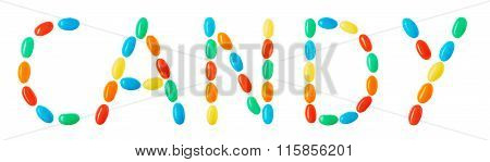 Candy Lettering Made Of Multicolored Candies Isolated On White