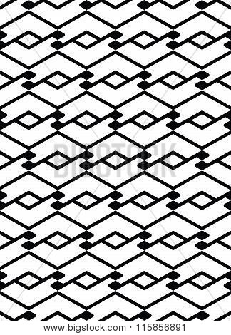 Monochrome Seamless Pattern With Parallel Lines, Black And White Infinite Geometric Mosaic Textile,
