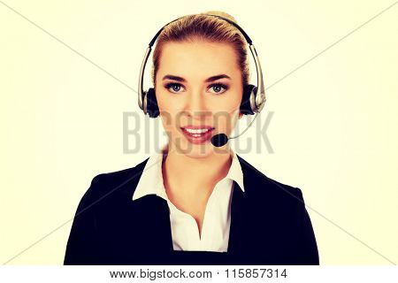 Young helpline operator in headset