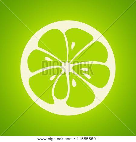 Green lime stylish icon. Juicy fruit logo