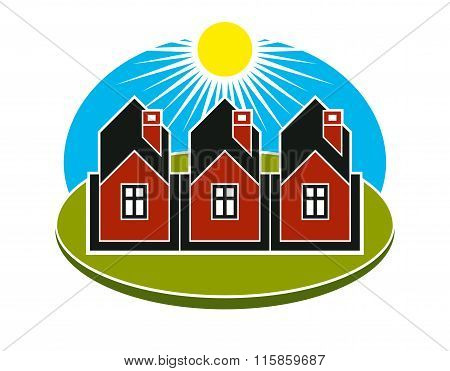 Bright Vector Illustration Of Simple Country Houses On Sunrise Background. Summertime Conceptual
