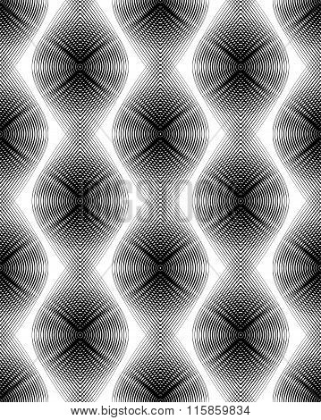 Continuous Vector Pattern With Black Graphic Lines, Decorative Abstract Background With Overlay Orna