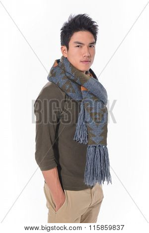 young man with scarf close up portrait
