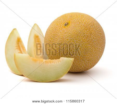 melon slices isolated on white background cutout