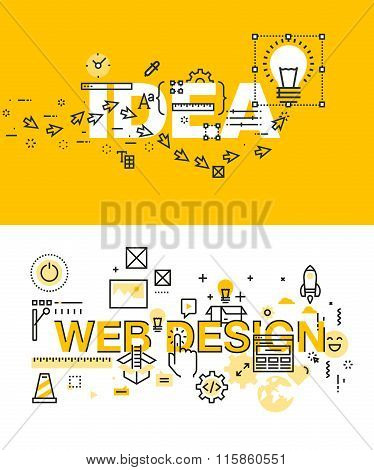 Set of modern vector illustration concepts of words idea and web design