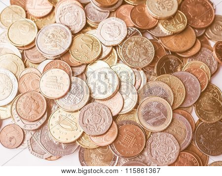 Euro And Pounds Coins Vintage