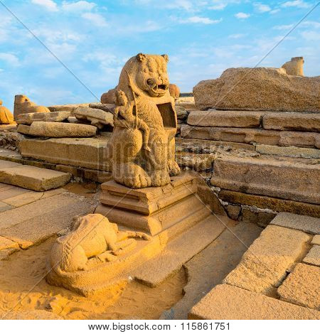 Beautiful Ancient Sculpture Of Lion Monolithic Famous Shore Temple In Mahabalipuram, Tamil Nadu, Clo