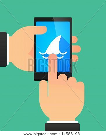 Man Using A Phone Showing A Shark Fin