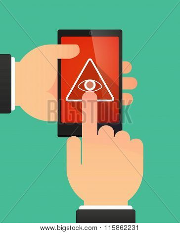 Man Using A Phone Showing An All Seeing Eye