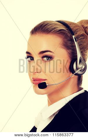 Smile young businesswoman with headset