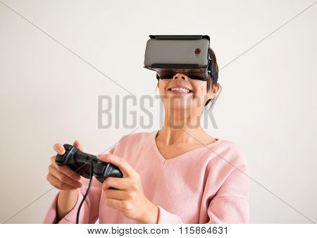 Woman play with virtual reality and joystick