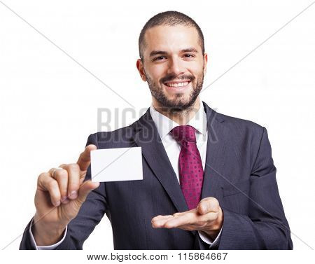 Smiling business man showing business card, isolated on white background