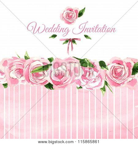 Aquarelle wedding invitation card. Floral drawing.