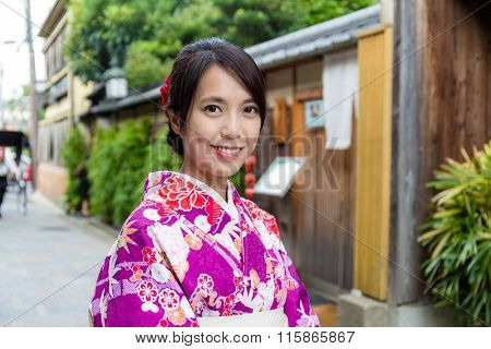 Young Woman dress up with kimono