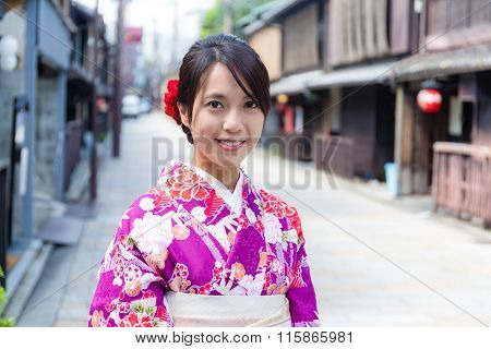 Young Woman with japanese kimono at kyoto