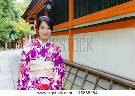 Japanese Woman wearing the kimono dress
