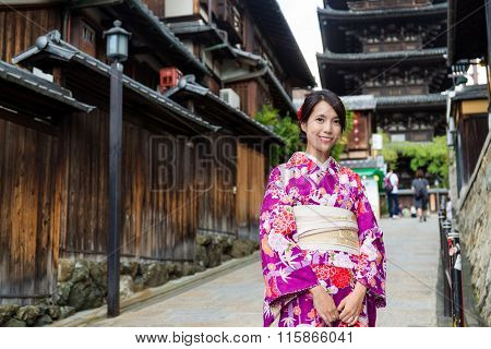 Japanese Woman dress up with kimono in yasaka pagoda