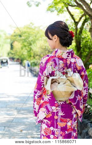 The back view of Woman wearing kimono