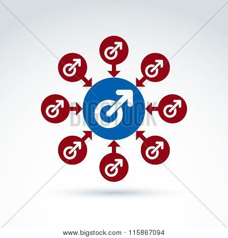 Blue Male And Red Female Signs Connected With Arrows, Gender Symbols. Group Sex Conceptual Icon, Rel