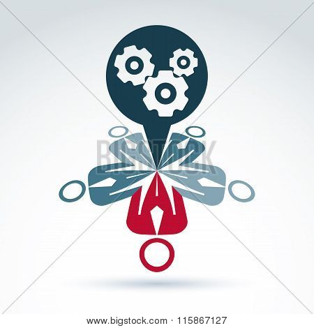 Teamwork And Business Team With Gears And Cogs Icon, Progress And Development, Organization, Vector