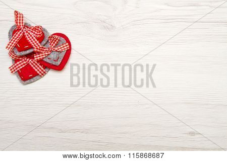 Valentines Day Background With Red Heart Over Wood