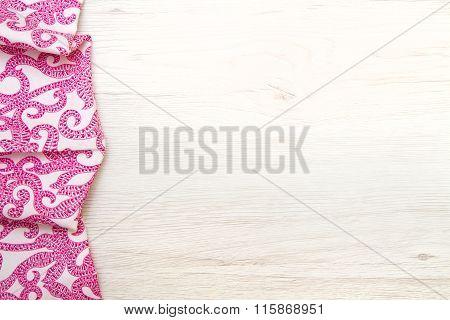 Cloth Napkin On Wood Background