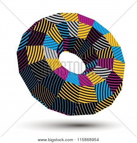 3D Vector Abstract Technology Illustration, Geometric Unusual Stripy Object. Origami Bright Three-di